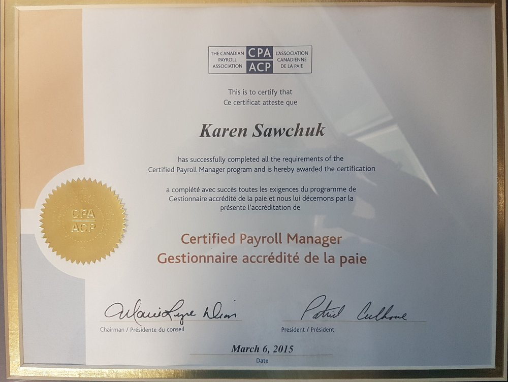 Karen sawchuk cpm certificate